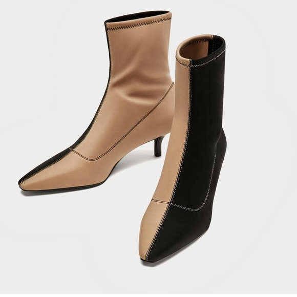 fe406cb02b05a NEW ZaRa TWO-TONE HIGH HEEL ANKLE BOOTS
